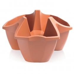 Halmozható virágcserép - Három darab - Korona - Terracotta -