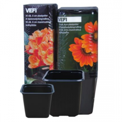 Black 11 x 11 cm square nursery pot - 10 pieces