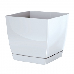 Square flower pot with saucer - Coubi - 21 cm - White