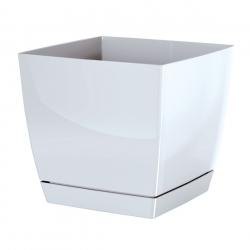 Doniczka kwadratowa + podstawka Coubi - 12 cm - biała
