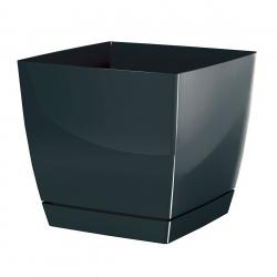 Kvadrātveida puķu pods ar apakštase - Coubi - 10 cm - grafīts -