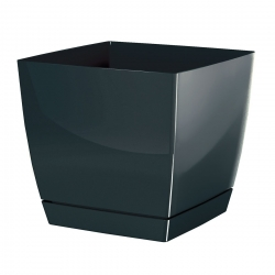 Square flower pot with saucer Coubi - 13,5 cm - Graphite