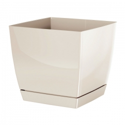Square flower pot with saucer - Coubi - 21 cm - Cream