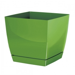 Square flower pot with saucer - Coubi - 18 cm - Olive