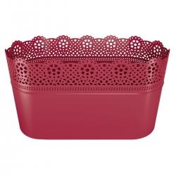 Pikk lillepott pitsiga - 28,5 x 13,5 cm - pits - Rapsberry -