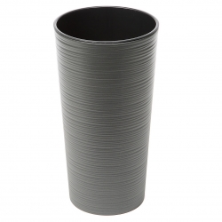 """Lilia"" tall round pot - 19 cm - chiselled, graphite-grey metallic"