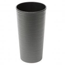 "Olla redonda alta ""Lilia"" - 25 cm - cincelada, gris grafito metalizado -"