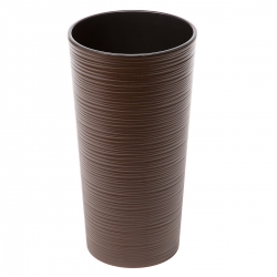 """Lilia"" tall round pot - 19 cm - chiselled, mocha-brown"