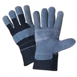 Denim gloves reinforced with cowhide leather - with a soft liner