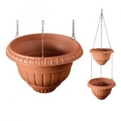 """Macetas colgantes de dos niveles """"Roma"""" - 25 + 30 cm - color terracota -"""