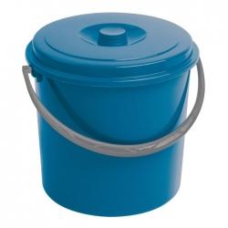 Ведро круглое с крышкой, мусорная корзина - 10 литров - синяя -