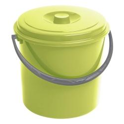 Ведро круглое с крышкой, мусорная корзина - 10 литров - зеленая -