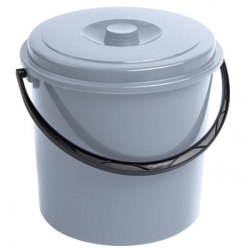 Ведро круглое с крышкой, бункер - 10 литров - серый -