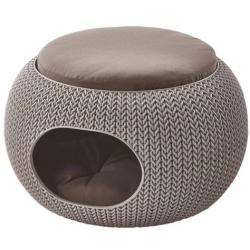Puff ball pet bed, doughnut cuddler  Knit - beige