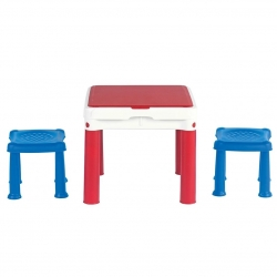 Activity table with stools for Constructable building bricks - blue-red-white