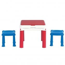 Tabuľka aktivít so stoličkami pre stavebné tehly Constructable - modro-červeno-biela -
