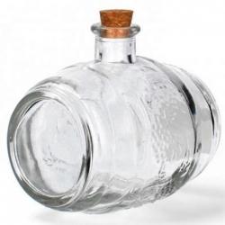 Botella de licor ornamental en forma de barril con corcho - 500 ml -