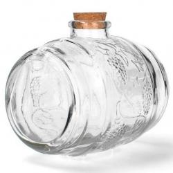 Botella de licor ornamental en forma de barril con corcho - 750 ml -