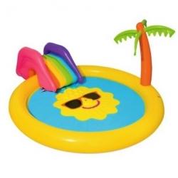 Piepūšamais ūdens rotaļu laukums ar slidkalniņu - Pludmale - 237 x 201 x 104 cm -