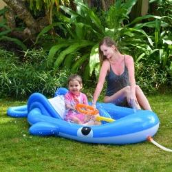 Piepūšamais ūdens rotaļu laukums ar slidkalniņu -Zilais valis - 210 x 130 x 35 cm -