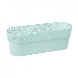 """Caja de balcón, jardinera """"Rosa"""" con platillo, bandeja - 50 cm - verde menta -"""