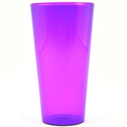 "Tall pot casing with an insert ""Vulcano Tube"" - 15 cm - transparent purple blueberry-ice-cream coloured insert"