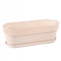 """Caja de balcón, jardinera """"Rosa"""" con platillo, bandeja - 50 cm - beige claro -"""