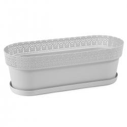 "Jardinera para balcón, caja ""Bella"" con platillo - 50 cm - gris claro -"