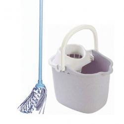 Mop with handle + bucket with wringer - grey