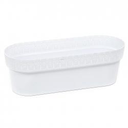 """Jardinera de balcón, caja """"Bella"""" con platillo - 50 cm - blanco -"""