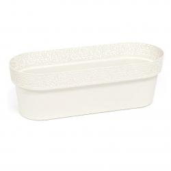 """Caja de balcón, jardinera """"Rosa"""" con platillo, bandeja - 50 cm - blanco crema -"""