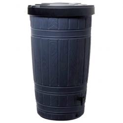 Depósito de agua de lluvia con soporte para barril, grifo, colector de agua y agente purificador de agua - Woodcan - 265 l - negro -