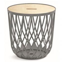 Viacúčelový stôl - úložný kôš UNIQUBO - 55 litrov - kamenná sivá -
