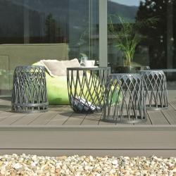Multifunkčná záhradná / balkónová nábytková zostava - UNIQUBO SADA - stôl so 4 sedadlami - kamenná sivá -