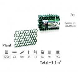 Adoquines de césped permeable para aparcamientos - PLANTA - negro - 1,1 m² -