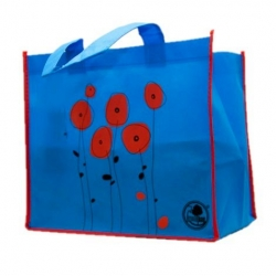 Чанта за хранителни стоки - 32 х 28 х 22 см - макове -