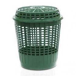 Садовый мешок для мусора / складное выдвижное ведро с крышкой для травы, листьев, фруктов и других отходов - Клетка - 60 литров - лесной зеленый -