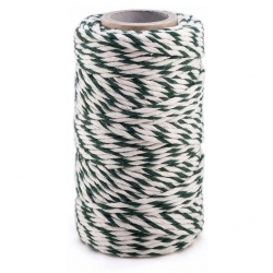 Green-white cotton twine - 100grams/90metres