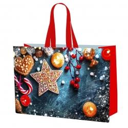Ziemassvētku motīvu iepirkumu maisiņš - 55 x 40 x 30 cm - Ziemassvētku rotājumi -