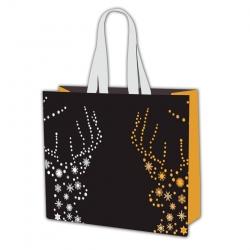 Ziemassvētku motīvu iepirkumu maisiņš - 45 x 40 x 18 cm - Ziemassvētku ragi -