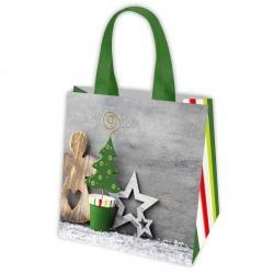 Ziemassvētku motīvu iepirkumu maisiņš - 34 x 34 x 22 cm - Ziemassvētku ainava -