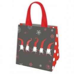 Ziemassvētku motīvu iepirkumu maisiņš - 34 x 34 x 22 cm - Dejojošās santa -