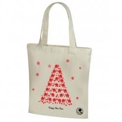 Kokvilnas iepirkumu maisiņš ar Ziemassvētku motīvu un gariem rokturiem - 38 x 41 cm - Ziloņu eglīte -