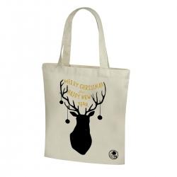 Kokvilnas iepirkumu maisiņš ar Ziemassvētku motīvu un gariem rokturiem - 38 x 41 cm - Ziemassvētku ziemeļbrieži -