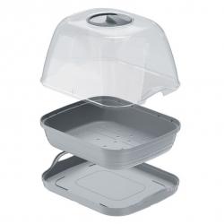 Kis beltéri mini üvegház - Respana asztali üvegház - kőszürke -