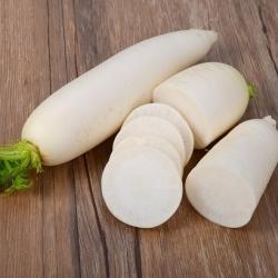 Fehér retek Agata - nyári fajta hosszúkás gyökerekkel - Vetőmagszalag -