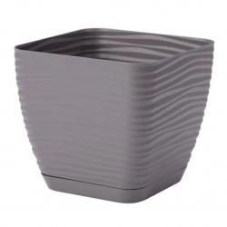 """""""Sahara petit"""" square pot with a saucer - 11 cm - stone grey"""