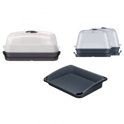 Plant home growing set - gardening tray + mini greenhouse + two small mini greenhouses - anthracite gray