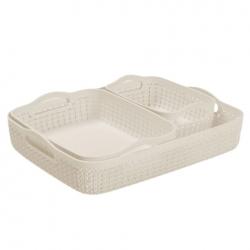 """""""Knit"""" tray set - sizes A4 + A5 + A6 - creamy-white"""