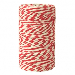 White-and-red cotton twine - 100g/70 metres